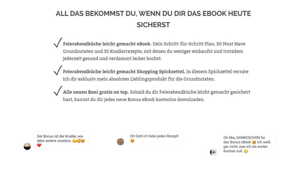 Testimonials von eBook-Käuferinnen